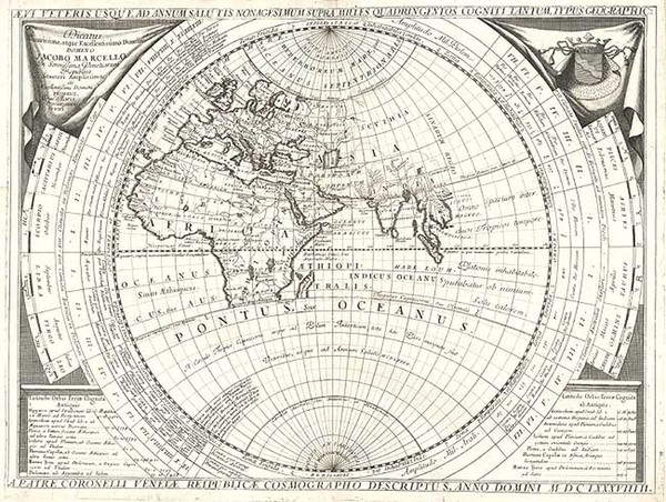 74-World, World and Eastern Hemisphere Map By Vincenzo Maria Coronelli