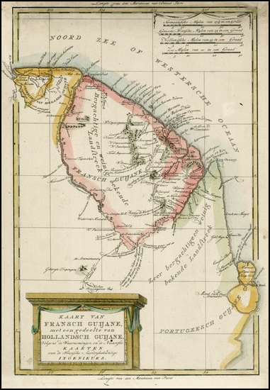 88-South America and Guianas & Suriname Map By Willem Albert Bachienne