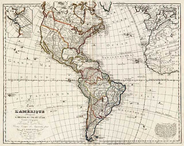 48-South America and America Map By Jean André Dezauche