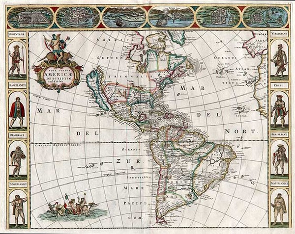 88-South America and America Map By Frederick De Wit