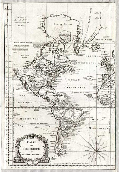 94-South America and America Map By Jacques Nicolas Bellin