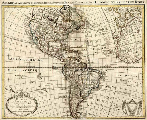 4-South America and America Map By Johannes Covens  &  Cornelis Mortier
