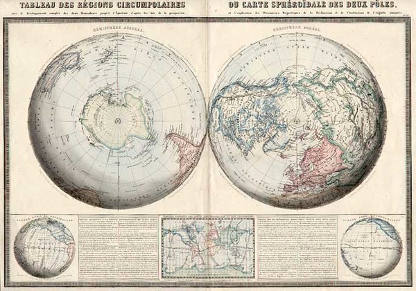 6-World, World, Northern Hemisphere, Southern Hemisphere and Polar Maps Map By F.A. Garnier