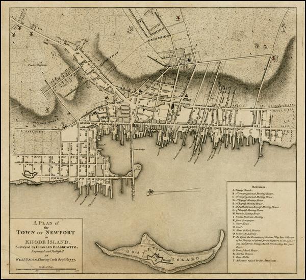 16-Rhode Island Map By William Faden