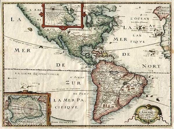 59-South America and America Map By Melchior Tavernier  &  Petrus Bertius