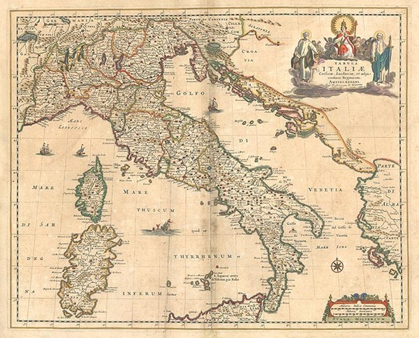 82-Europe, Balkans, Italy, Mediterranean and Balearic Islands Map By Frederick De Wit