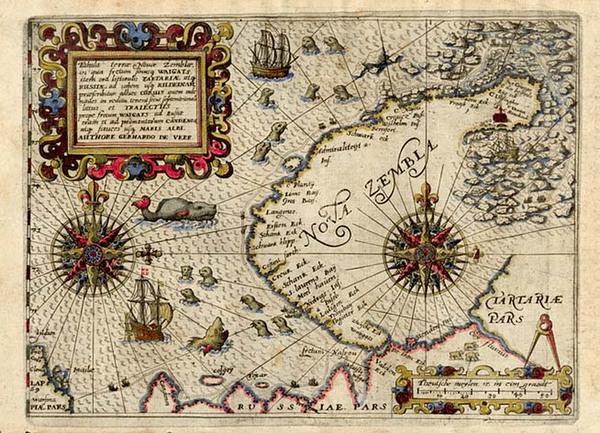 0-World, Polar Maps, Europe, Russia, Scandinavia and Balearic Islands Map By Theodor De Bry
