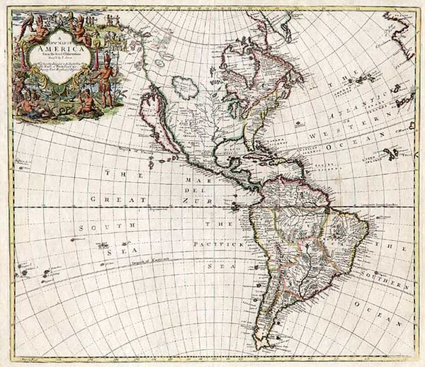 70-South America and America Map By John Senex