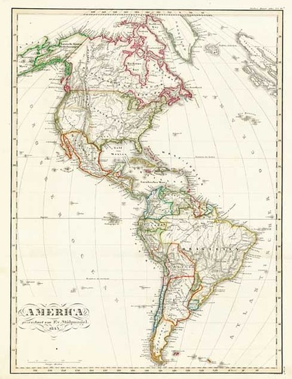 59-South America and America Map By F. Von Stulpnagel  &  Adolf Stieler