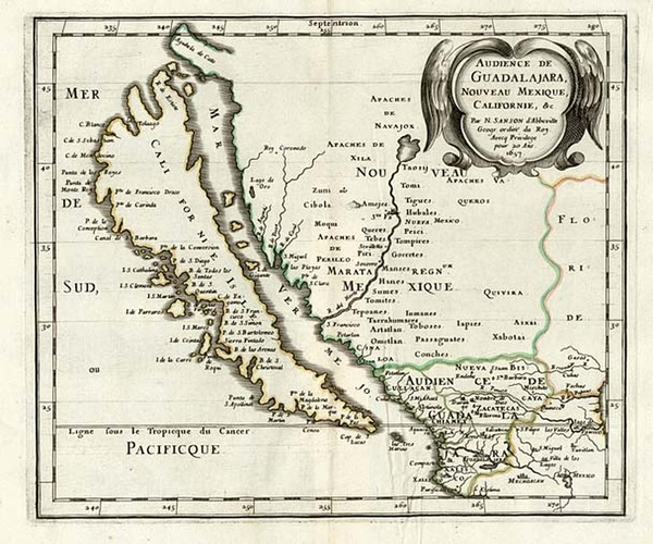 58-Southwest, Mexico, Baja California and California Map By Nicolas Sanson