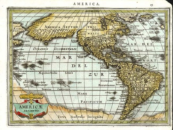 54-World, Western Hemisphere, South America and America Map By Jan Jansson  &  Abraham Goos
