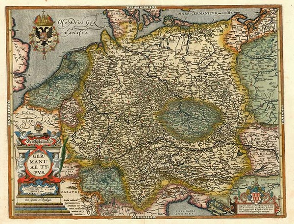 36-Europe, Netherlands, Germany, Poland and Baltic Countries Map By Abraham Ortelius / Johannes Ba