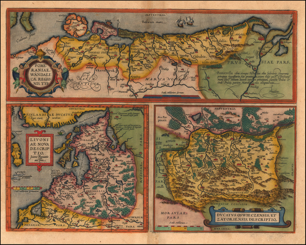 42-Europe, Germany, Poland and Baltic Countries Map By Abraham Ortelius / Johannes Baptista Vrient