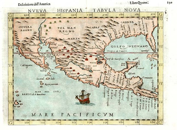 88-South, Southeast, Southwest and Mexico Map By Girolamo Ruscelli