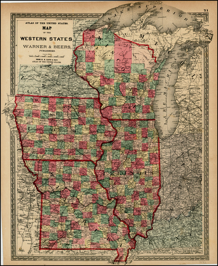 98-Midwest and Plains Map By H.H. Lloyd  &  Warner & Beers