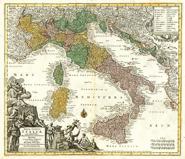 19-Italy Map By Matthaus Seutter