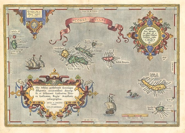 6-World, Atlantic Ocean, Europe, Portugal and Balearic Islands Map By Abraham Ortelius