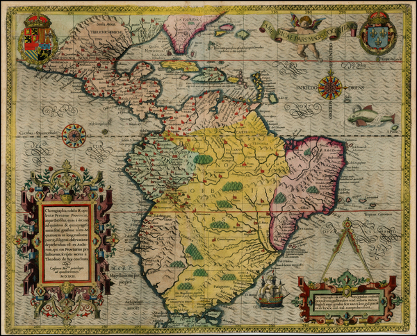 45-Mexico, Caribbean, Central America, South America and America Map By Theodor De Bry