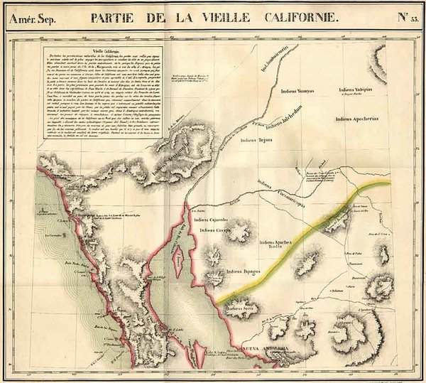73-Southwest and California Map By Philippe Marie Vandermaelen