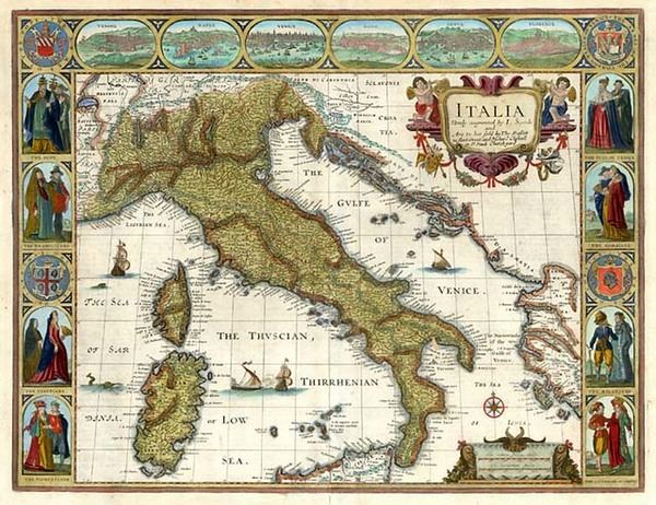 53-Europe, Balkans, Italy and Balearic Islands Map By John Speed