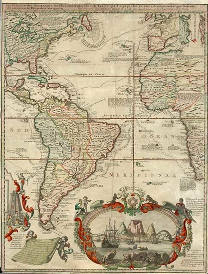 97-World, Atlantic Ocean, North America, South America and America Map By Hendrick De Leth