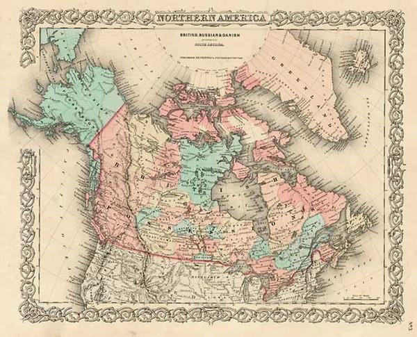 61-Alaska and Canada Map By Joseph Hutchins Colton