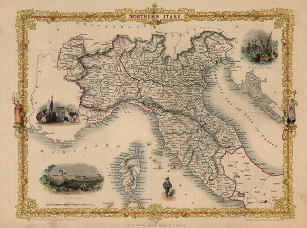 98-Europe, Italy, Mediterranean and Balearic Islands Map By John Tallis