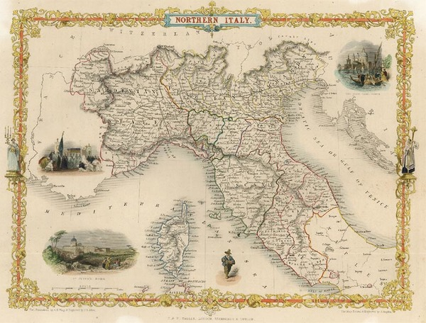41-Europe, Italy, Mediterranean and Balearic Islands Map By John Tallis