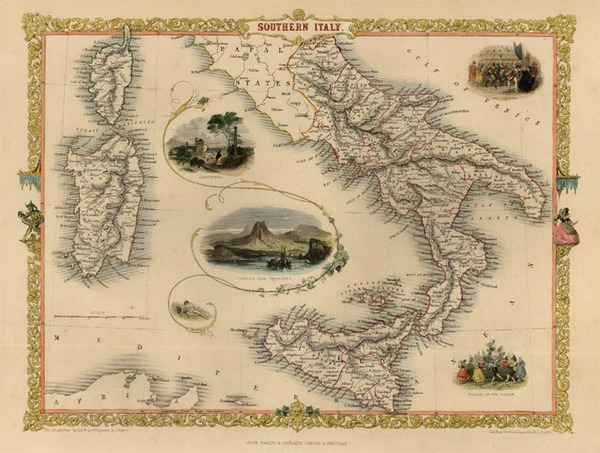 12-Europe, Italy, Mediterranean and Balearic Islands Map By John Tallis