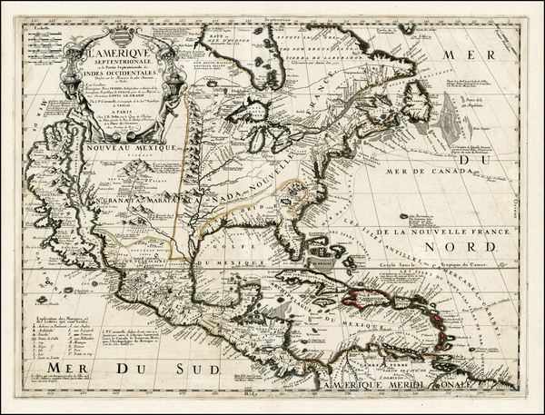 62-North America and California Map By Vincenzo Maria Coronelli / Jean-Baptiste Nolin