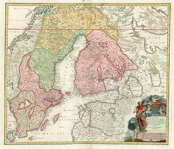 84-Europe, Baltic Countries and Scandinavia Map By Johann Baptist Homann