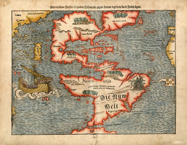 97-South America and America Map By Sebastian Munster