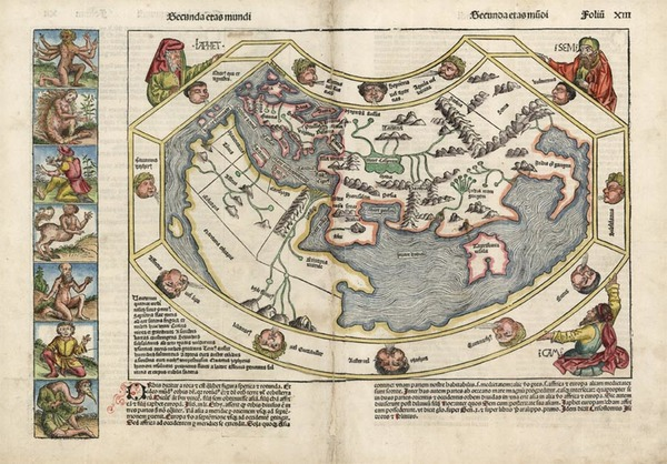 7-World, World and Curiosities Map By Hartmann Schedel