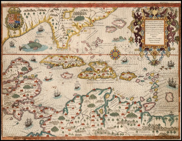 96-South, Southeast, Caribbean and South America Map By Theodor De Bry / Girolamo Benzoni