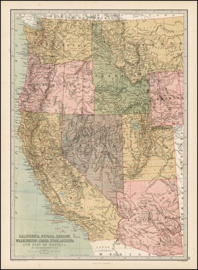 97-Southwest, Rocky Mountains and California Map By T. Ellwood Zell