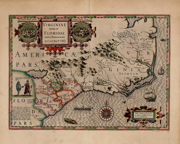 69-Mid-Atlantic and Southeast Map By Jodocus Hondius