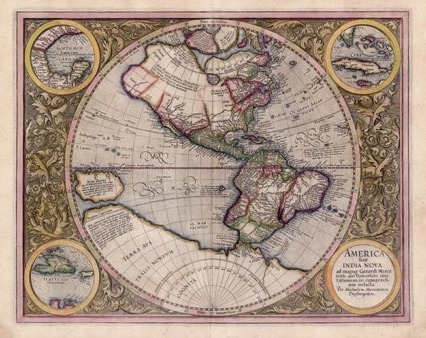32-World, Western Hemisphere, Polar Maps, South America and America Map By Michael Mercator