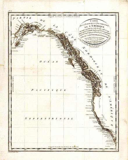 65-Alaska, Canada and California Map By George Vancouver