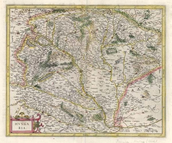 38-Europe, Austria and Hungary Map By Jodocus Hondius / Gerard Mercator