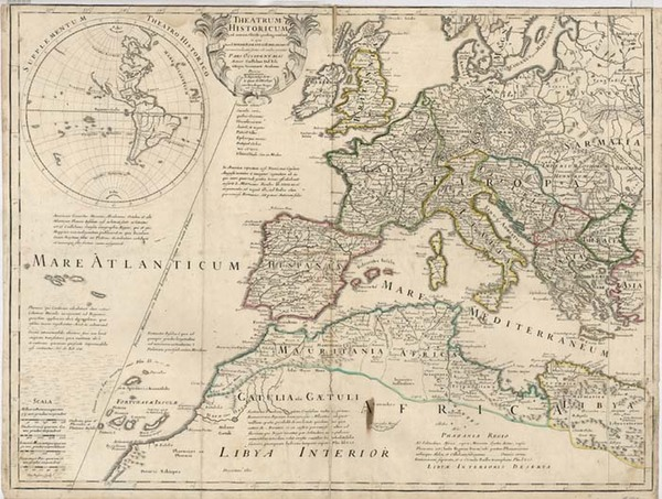89-South America, Europe, Europe, Mediterranean and America Map By Guillaume De L'Isle