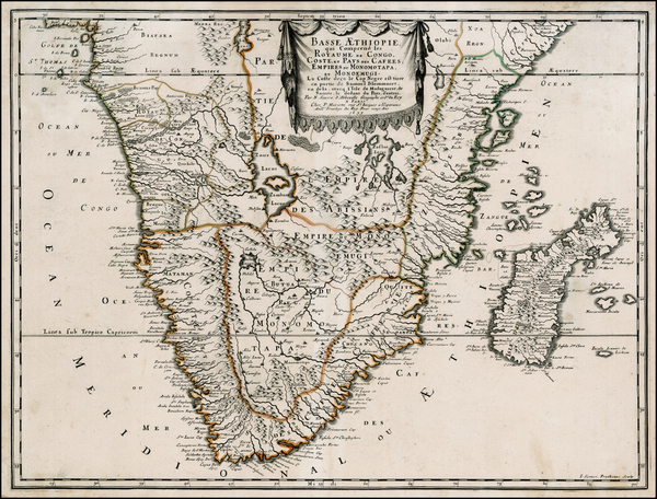 65-South Africa, East Africa and African Islands, including Madagascar Map By Nicolas Sanson