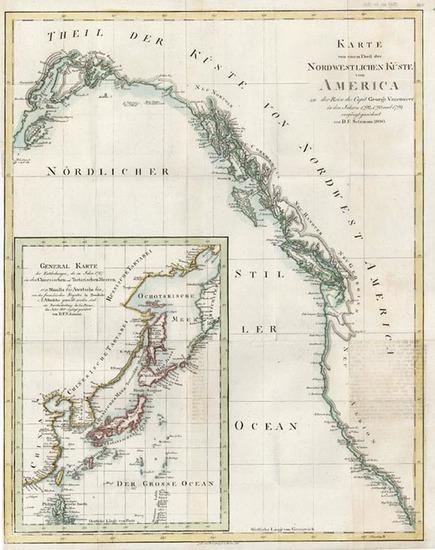61-Alaska, Canada and California Map By Daniel Friedrich Sotzmann
