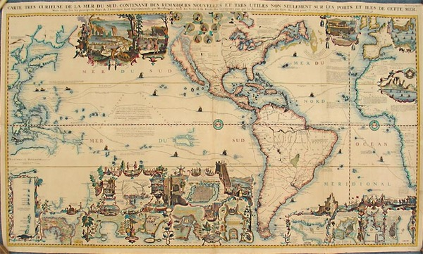 90-World, World, North America, South America, Pacific and America Map By Henri Chatelain