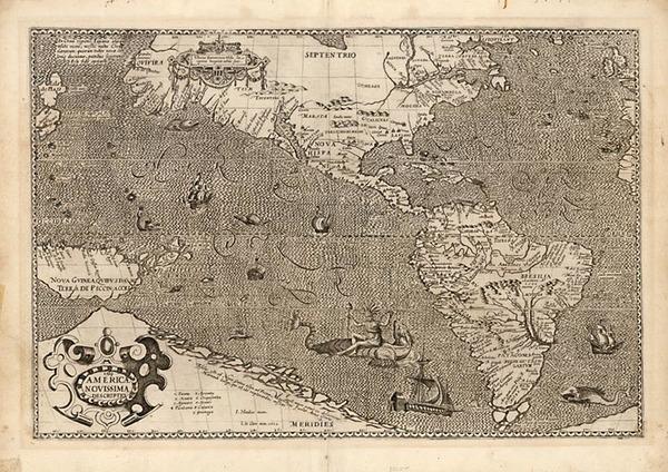 90-World, Western Hemisphere, Polar Maps, South America, Pacific and America Map By Jodocus Hondiu