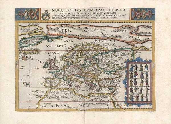 35-World, Polar Maps, Atlantic Ocean, Europe and Europe Map By Gerard de Jode