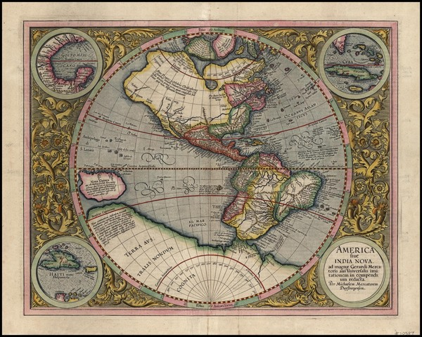 52-World, Western Hemisphere, Polar Maps, South America and America Map By Michael Mercator