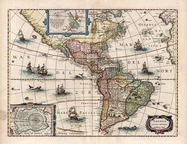 34-South America and America Map By Henricus Hondius