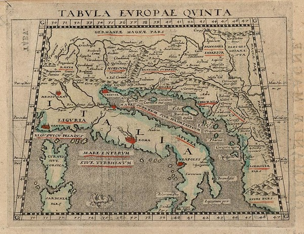 93-Europe, Balkans and Italy Map By Giovanni Antonio Magini