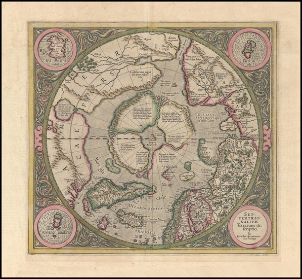 75-World, World, Polar Maps and Alaska Map By Gerard Mercator