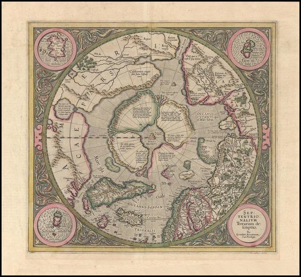 81-World, World, Polar Maps and Alaska Map By Gerard Mercator